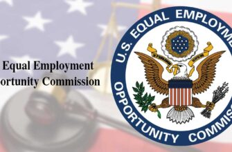 EEOC seal against blurred background of american flag